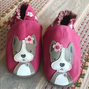 Robeez Soft Soles Pink Moccasins with Puppy